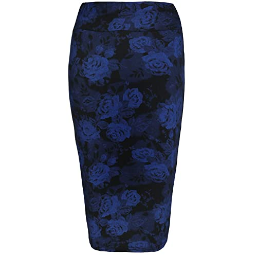 349469a34b Fashion Star Womens Ladies Printed Elastic Waist Pencil Tube Jersey  Dogtooth Floral Tartan Printed Midi Skirt