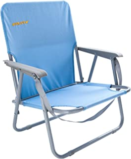 #WEJOY Folding Outdoor Lawn Concert Beach Chair with Arms Shoulder Strap Pocket for Adults, Low/High Back, Blue