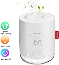 Portable Mini Humidifier, 500ml Small Cool Mist Humidifier with Night Light, USB Personal..