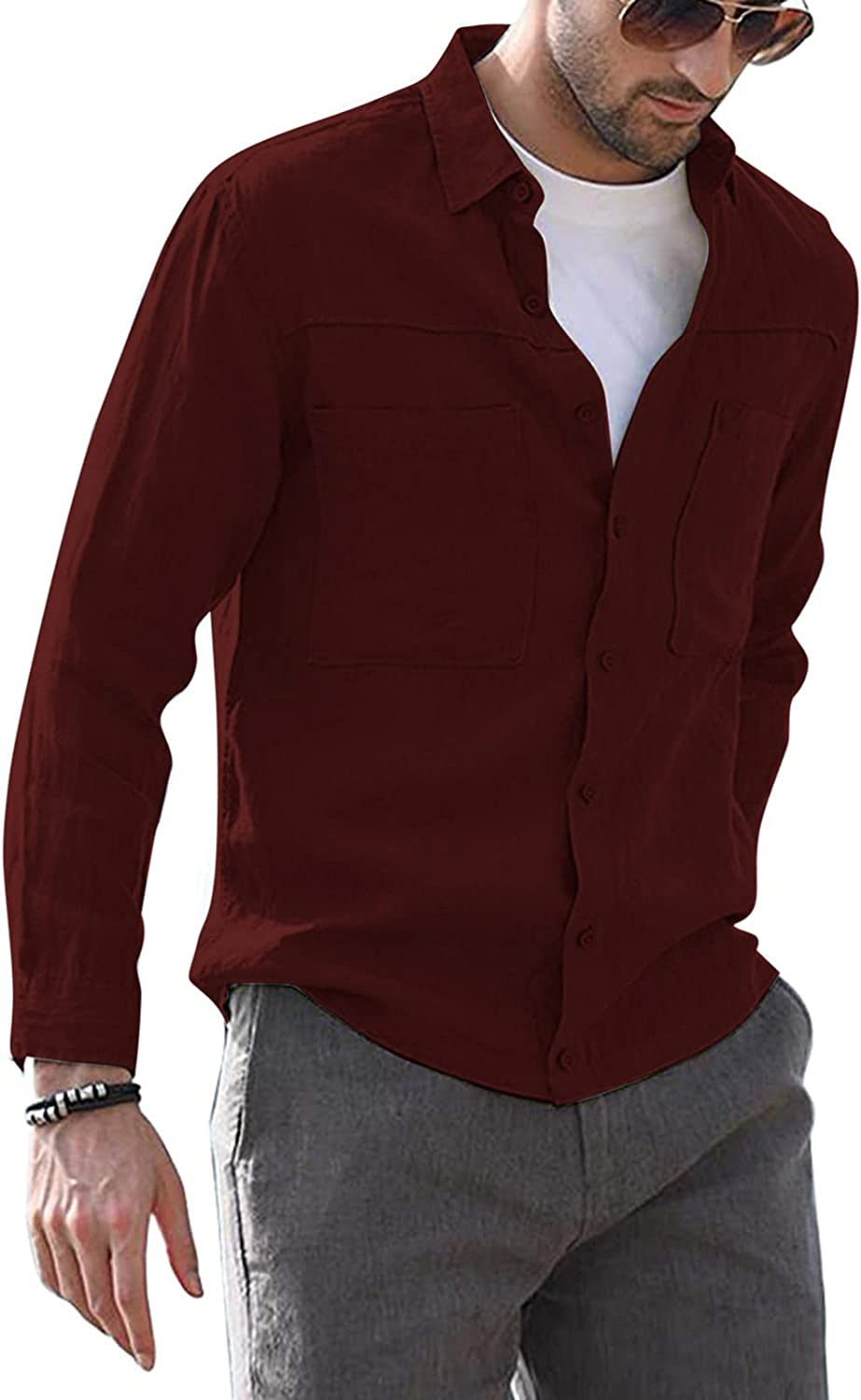 WOCACHI Long Sleeve Shirts for Mens, Button Down Lapel Solid Slim Fit Business Shirt Fashion Casual Beach Tops