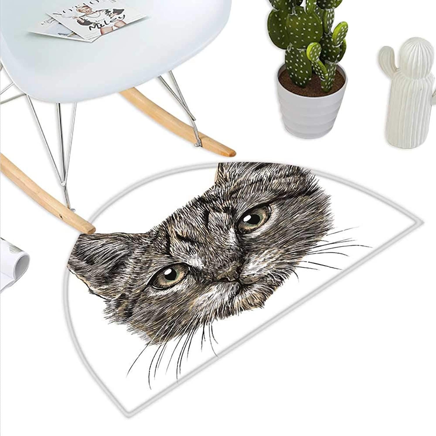 Animal Semicircle Doormat Cute Little Chubby Cat Head Looking Innocently with Long Whiskers Sketchy Like Artwork Halfmoon doormats H 43.3  xD 64.9  Grey