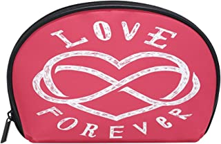 ALAZA Forever Love Half Moon Cosmetic Makeup Toiletry Bag Pouch Travel Handy Purse Organizer Bag for Women Girls