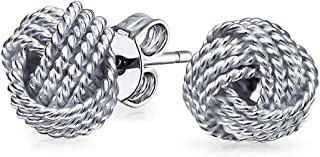 Round Ball Twisted Cable Braided Rope Knot Love Knot Stud Earrings For Women 925 Sterling Silver 9MM