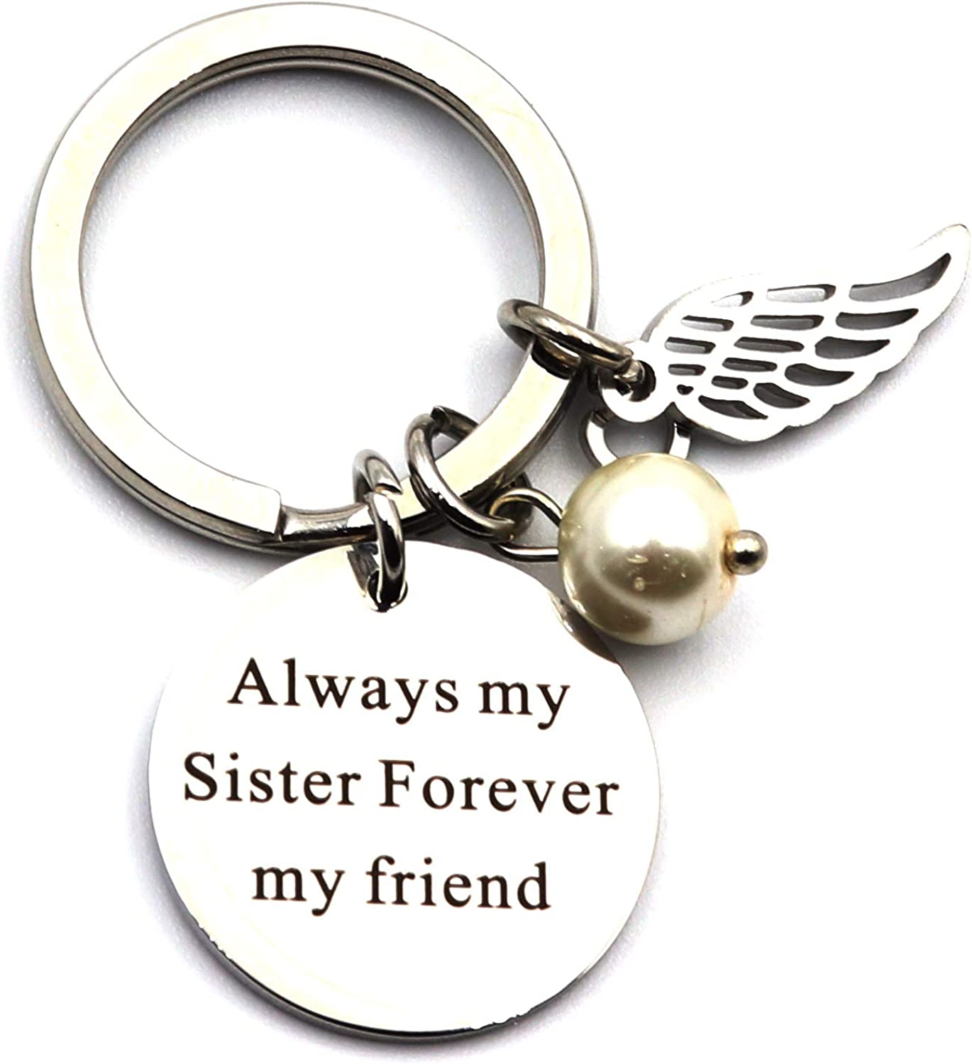DETUCK Keychain To Sister Stainless Steel Key Chain Keyring Gift To Best Friends | Always My Sister Forever My Friend