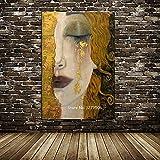 DXNB Artista clásico Gustav Klimt (Gustav Klimt) lágrimas abstractas Pintura al óleo Mural sobre Lienzo póster Mural para Sala de Estar 70x100cm Sin Marco