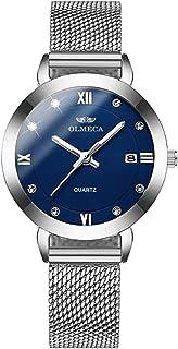 OLMECA Women's Watches Elegant Diamonds Fashion Simple Watches Wristwatches Waterproof Quartz Women Watches Calendar Date Watch for Women Milanese Band 865