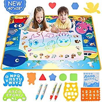 Mixi Aqua Magic Doodle Mat Toys for 2 3 4 5 6 Year Old Boys Girls Gifts 40 X 28 Inches Extra Large Water Drawing Mat Educational Kids Toys