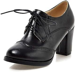 231c20ced7d Vimisaoi Women s Leather Oxfords Cuban Brogues Wingtip Lace-up Block High  Heel Saddle Shoes