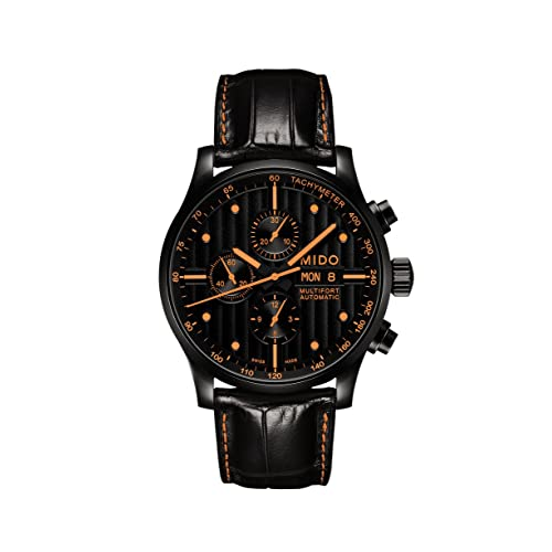 Mido Mens MIDO-M0056143605122 Multifort Analog Display Swiss Automatic Black Watch with extra orange band
