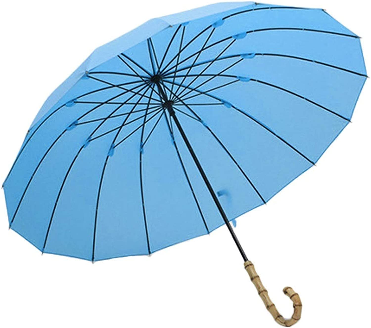ZHUSAN Long Umbrella, Wood Handle Lightweight Manually Simple Style with 16 Ribs