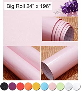 Oxdigi Pink Contact Paper Decorative for Countertops Cabinets Shelves Glossy Self Adhesive Film Peel and Stick Waterproof Wallpaper 24 x 196 inches (Pearlescent Glitter)