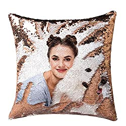 Gold Sequin Personalized Pillow Cover with Your Photos