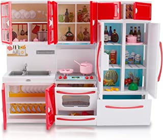 Liberty Imports Gourmet Red Doll Modern Kitchen Mini Toy Playset with Lights and Sounds, Perfect for 12 Inch Dolls