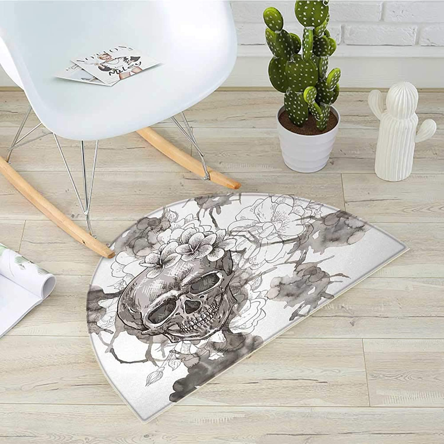 Day of The Dead Semicircular CushionPainting Skull Flowers Dia de Los Muertos Festive Designed Print Entry Door Mat H 39.3  xD 59  Dimgrey and White