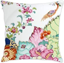 Wbsdfken Vintage Chinoiserie Porcelain Asian Crane and Flowers Antique Floral China Pattern Print Cotton Linen Square Throw Pillow Case Decorative Cushion Cover Pillowcase Sofa (1818 inch)