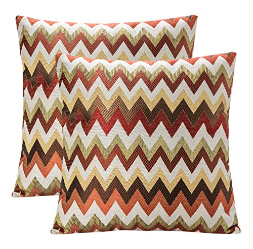 YUKORE Pack of 2 SimpleDecor Jacquard Chevron Pattern Cushion Covers Decorative Pillowcases Multicolor 18X18 Inch Multicolor
