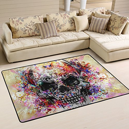 yibaihe leicht bedruckt Bereich Teppich Teppich Fußmatte Deko Totenkopf Colorful Watercolor wasserabweisend leicht zu reinigen für Wohnzimmer Schlafzimmer, 183 x 122 cm