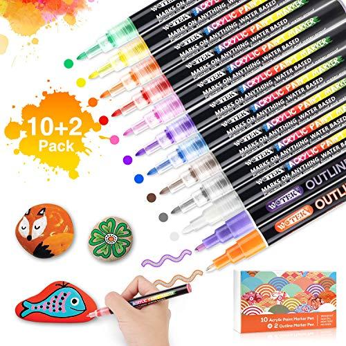 Acrylstifte für Steine,Acrylfarben Marker Stifte Set mit 2 Outline Stifte für kinder,Wasserfestes Steine Bemalen Stifte für die Schule/Tassen/Glas/Metall/Holz/Leinwand/DIY-12 Farben