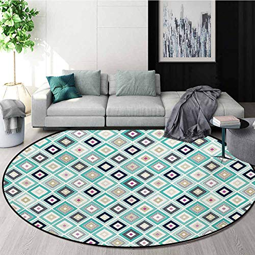 Find Cheap RUGSMAT Turquoise Small Round Rug Carpet,Dots Doodle Rhombus Diamond Shapes Colorful Geom...