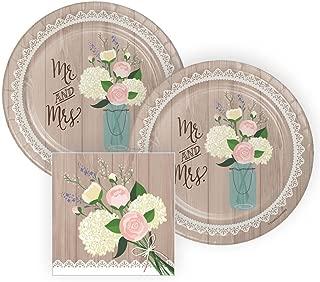 Rustic Wedding Bridal Shower Paper Plates and Napkins, 16 Servings, Bundle: 3 Items
