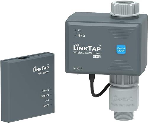 LinkTap G2S Minuteur Arrosage et Gateway et Débitmètre, Programmateur d'Arrosage Intelligent pour Pelouse et Jardin, ...