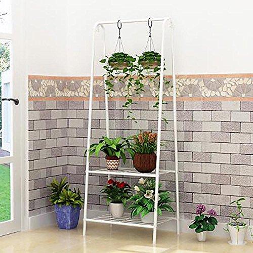 LLLXUHA Art de fer Multi-couche suspension Pot à fleurs intérieur Multifonction Type de plancher Araignée Support de fleurs, balcon Succulentes Présentoir,60.2*35.8*151cm , Blanc