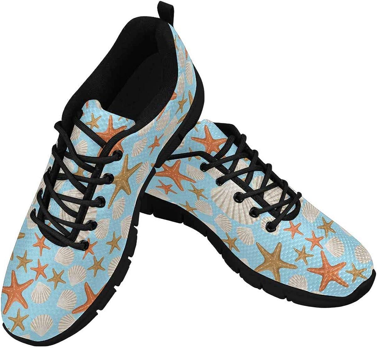 INTERESTPRINT Sea Pattern White Shells and Starfish Women's Athletic Walking Shoes Comfort Mesh Non Slip