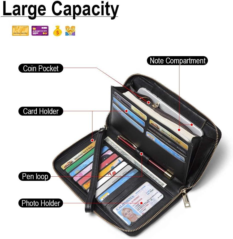 CLUCI Wallet Women Large Capacity Leather Designer Zipper Around Card Ladies Phone Clutch Wristlet Billfolds Black