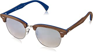 Ray-Ban RB3016M Clubmaster Wood Square Sunglasses, Silver/Brown Gradient Mirror Silver, 51 mm