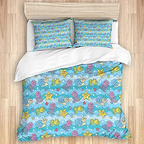 ATZTD Juego de ropa de cama, funda de edredón, diseño de olas con estrellas, diferentes peces divertidos y criaturas marinas, 135 x 200 cm, microfibra con 2 fundas de almohada de 80 x 50, individual