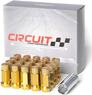 Circuit Performance Forged Steel Extended Hex Lug Nut for Aftermarket Wheels: 12x1.5 Gold - 20 Piece Set + Tool