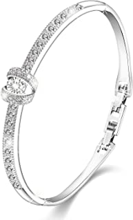 Women Unique Elegant Jewelry Princess Swarovski Bangle Bracelets Silver Plated - Presents for her