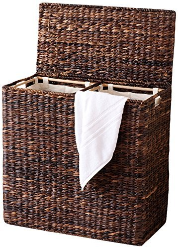 BirdRock Home Oversized Divided Hamper with Liners and Lid (Espresso) - Handwoven Natural Woven Abaca Fiber - Organize Laundry Storage - Easy Transport - Extra Large Double Basket