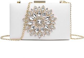 Jywmsc Mujer Noche Bolso Cuentas de diamantes Partido Paseo Deshierbe Bolso de mano cruzado