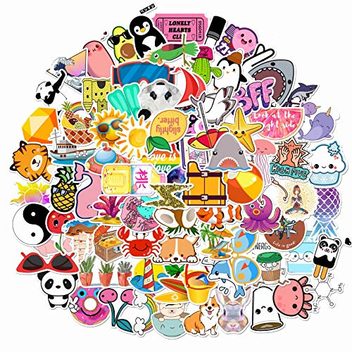 Vanson Stickers for Hydro Flask, 100 pcs Pack Cute Aesthetic Vinyl Stickers for Hydroflask Water Bottles Laptop Computer Skateboard, Waterproof Decal Stickers for Kids Women Adults, Teen Girl Gifts