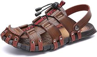Pu Leather Summer Shoes Men Sandals Outdoor Sandals Summer Breathable Beach Shoes (Color : Khaki, Size : 42)