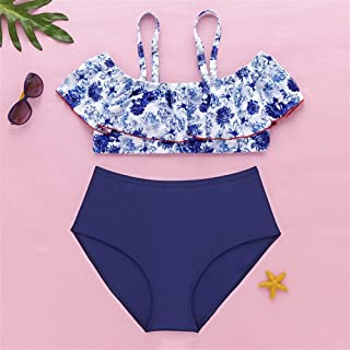 Swim wear New Printing Swimwear Bikini Swimsuit Split Ms. Bathing Suit Women Large Size LJJCUICAN (Color : Blue, Size : 4XL)