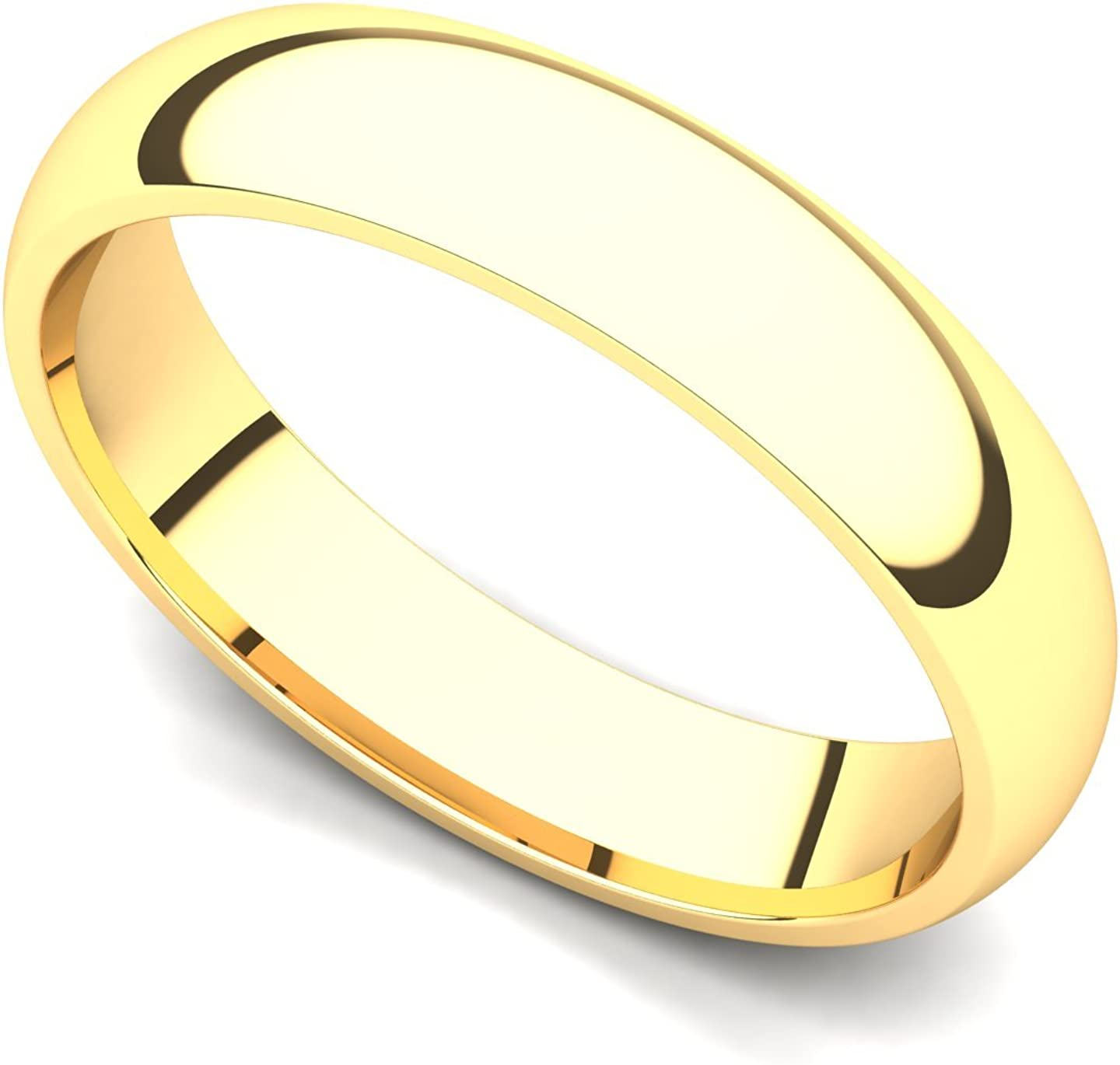 14k Yellow Gold 4mm Classic Plain Comfort Fit Wedding Band Ring