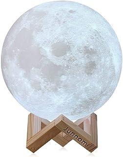 Lámpara con forma de luna Soriace®, de impresión 3D, 13cm, batería recargable, luz de luna, luz para el dormitorio, la mesilla, escritorio, regalo ideal para cumpleaños o Navidad (13cm)