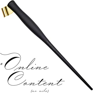 Dual Plastic Calligraphy Oblique Nib Pen Holder and Stub Italic Dip Pen with Removable Multi-Fit Brass Flange with Online Content by Penmen United
