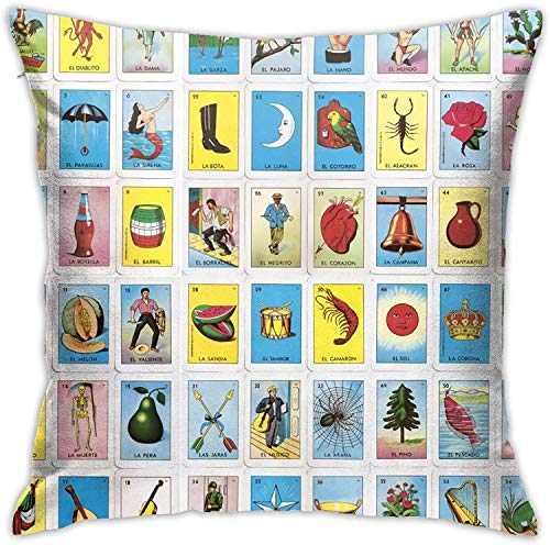 BONRI Tarjetas de Loteria Mexicanas Coloridas Throw Pillow Cover Funda de Almohada Decorativa Home Decor Square , (17'x17 / 43x43cm