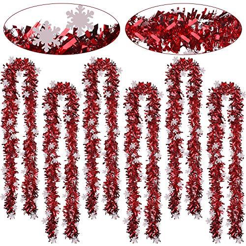 WILLBOND 6 Stück Schneeflocke Weihnachten Lametta 39,4 Fuß Weihnachten Girlande Klassisch Glänzend Soft Lametta für Weihnachtsbaum Kranz Hochzeit Party Bedarf (Rot)