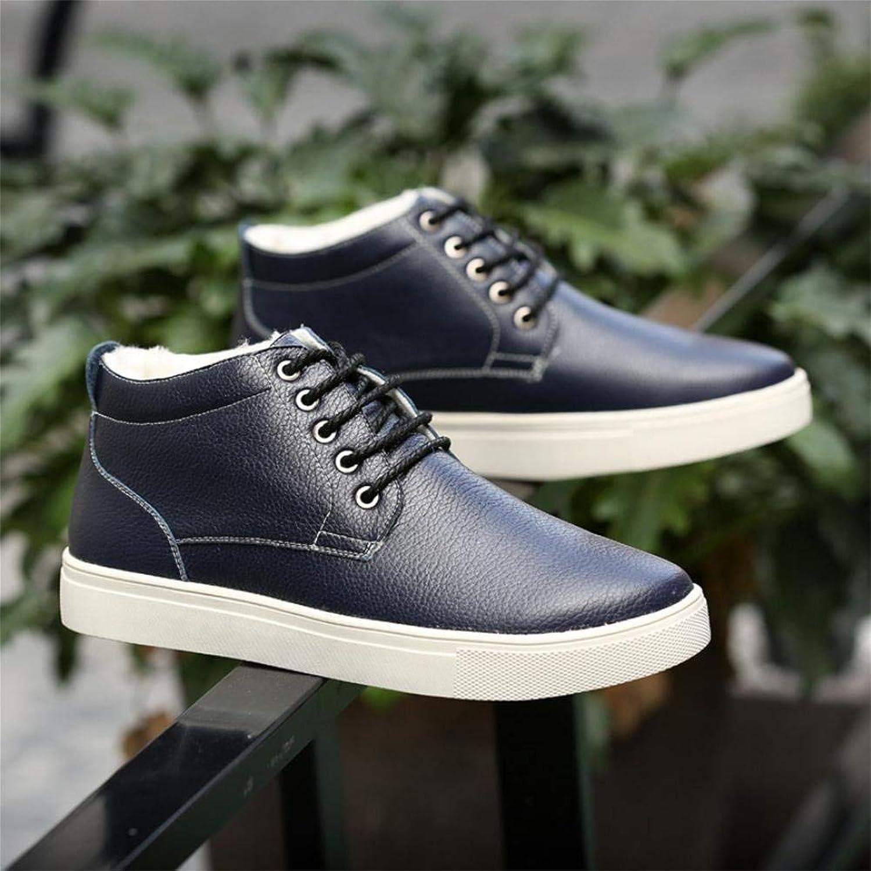Fuxitoggo Martin boots winter men's high cotton shoes large size plus cashmere warm cotton boots men's shoes (color   bluee, Size   41)