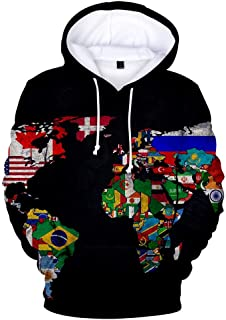Winsummer Unisex Realistic 3D Print World Map Pullover Hoodie Graphic Hooded Sweatshirt with Front Pocket