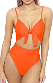 6310a57f5c LEISUP Womens Spaghetti Strap Tie Knot Front Cutout High Cut One Piece  Swimsuit