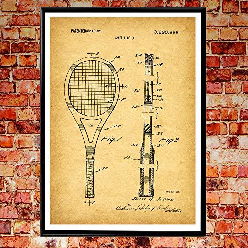 WallBuddy WB102 - Poster con Racchetta da Tennis e Tennis, Motivo: Tennis, Vintage, 8 x 10