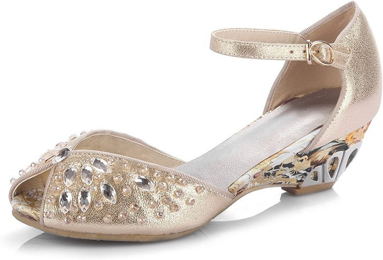 AmoonyFashion Women's Peep-Toe Kitten-Heels Soft Material Solid Buckle Sandals