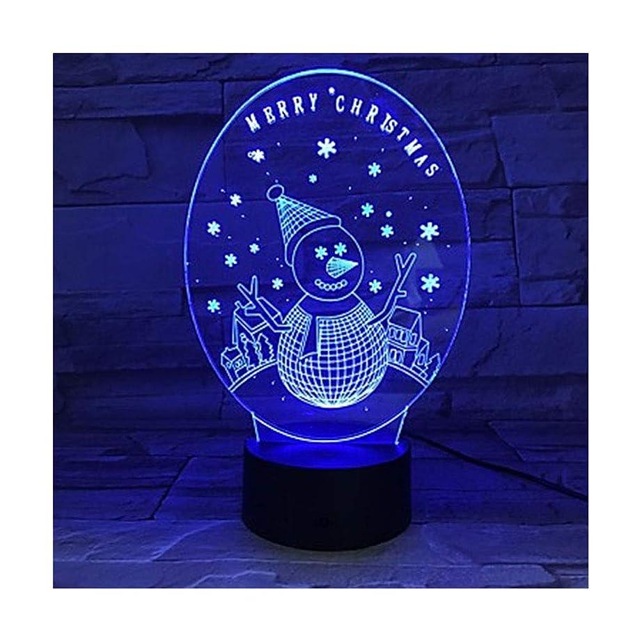 意志に反する返済怖がって死ぬ3D雪だるまユニークな照明効果光のイリュージョンLEDテーブルランプメリークリスマスデコレーション7色のナイトライトホリデーギフト