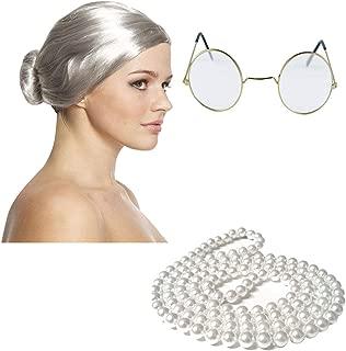 Hi Fashionz Antigua Abuela Secretaria Set Granny Bun Peluca Gafas Redondas de Oro Perlas Disfraz Un Tama�o