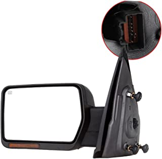 SCITOO Towing Mirrors, fit Ford Exterior Accessories Mirrors fit 2007-2014 Ford F-150 Truck with Amber Turn Signal and Puddle Light Heated Power Controlling and Manual Folding (Driver Side)